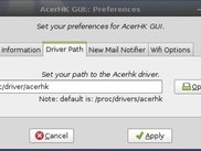 AcerHKGui v0.4 Preferences, Driver Path Select