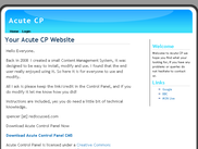acute control panel homepage