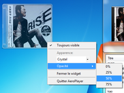AeroPlayer windows, aero, glass, music, player, wmp, wmplayer, taskbar, jumplist, thumbnai, album, art, cover, widget, gadget, skin, customizable