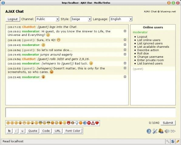 AJAX Chat - Open Source Web Chat download | SourceForge.net