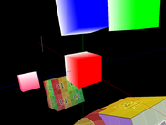 Cube in foreground shows texture blending