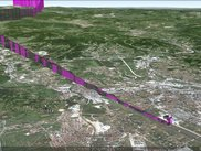 Data sample exported to Google Earth, two landings to Sarajevo airport