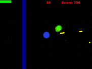 The player and the HUD shown, as the player shoots at the onslaught of enemies.