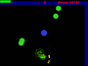 Particle effects on the projectiles and the enemies shown here from the explosion of their collision.