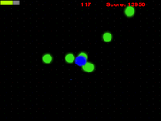 Player approaching death as the swarm surround the atom. Here particle effects are shown and the health bar being drained.