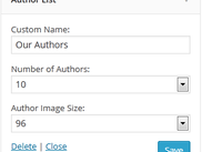 Author List - Widget Setting Page