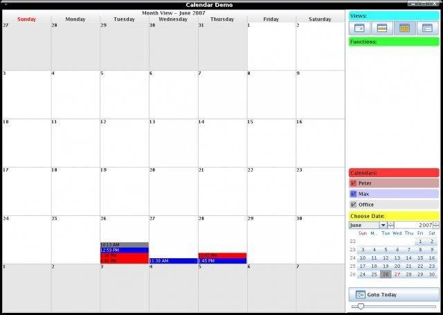 Weekly Calendar Java : Bizcal calendar widget library download sourceforge