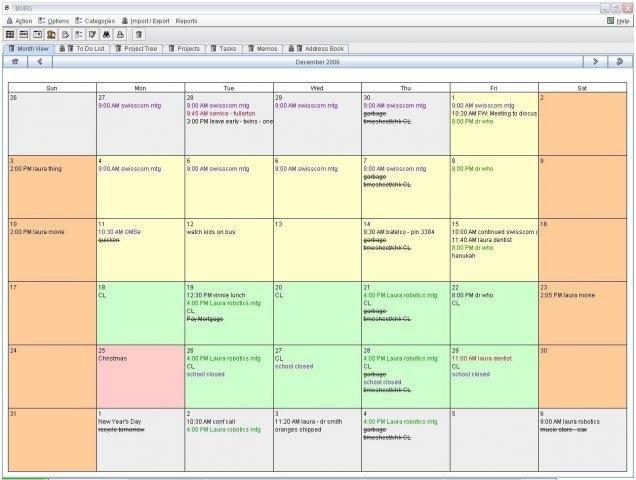 Weekly Calendar Java : Borg calendar download sourceforge