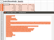 Sample table and converted LaTeX-code (calc2booktab_basic)