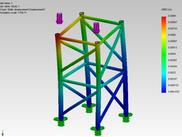 Deslocamentos (em) - Simulation SolidWorks
