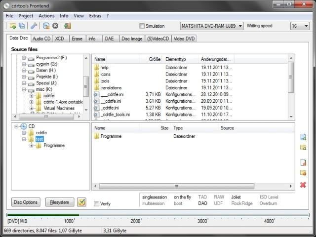 02 main window, data disc project, file explorer enabled