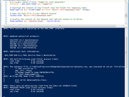 Screenshot from interactive session with script and SAS log output in the powershell log