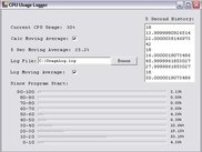 CPU Usage Logger Screenshot (Preliminary)