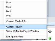 System tray icon and context menu