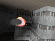 In-game screenshot showing lightning arcs on a damaged robot