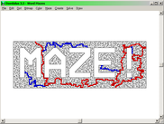 Mazes in shapes of words, or where solution spells a word.