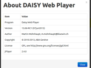 Daisy Web Player 13.06 in Chrome,  About screen