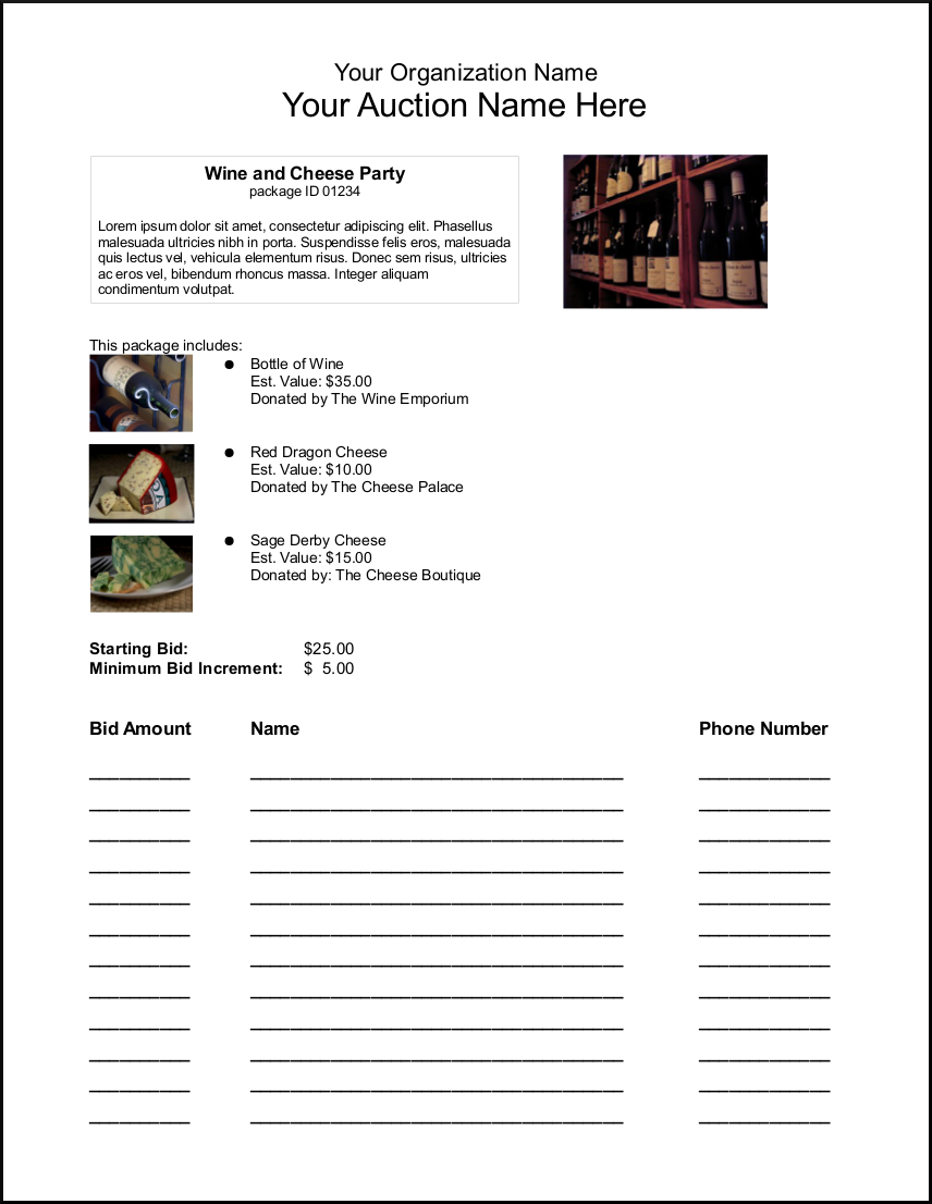 Sample pdf bid sheet created by the Silent Auction features of ...