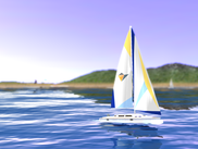 The delta3d sailboat riding the waves.