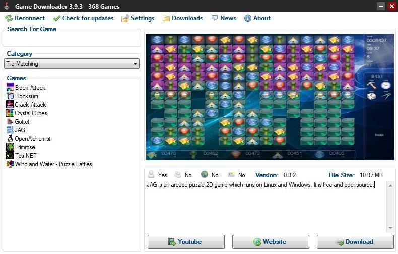 برنامج مجانى يمكنك من تحديد مكان وتنزيل الالعاب المجانية بسهولة Game Downloader 3.9