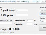 Screenshot of the Diablo 3 Arbitrage Profit Calculator