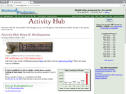 The Activity Hub allows viewing current site news and site statistics.