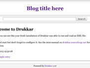 Drukkar 1.07 freshly installed. (This theme is availible in Drukkar 2.x under /themes/web1.0.)