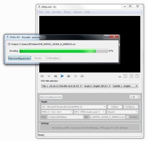 DVDx for Linux full screenshot