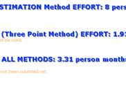 Orange Effort Estimation Sample Result