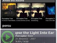 Quick-search popup window listing albums, artists and tracks