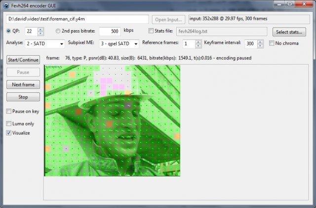Fevh264 GUI on Windows 7