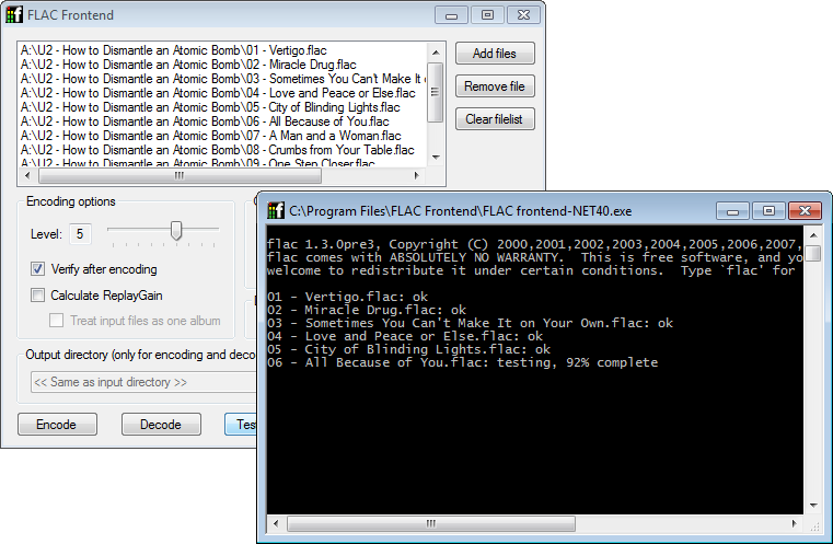 Main window with FLAC output