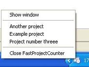 Projects list on right click on the task bar icon