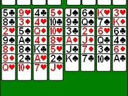 The main display in freecell at the beginning of a game.