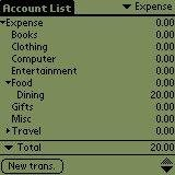 Accounts list