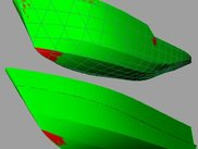 Green parts of the surface are developable, red are not