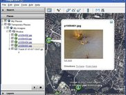 Google Earth shows a KML file created by gpsPhoto.pl.