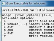 Snapshot of guraw help window