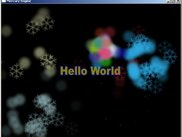 Hello World screen with a simple particle effect