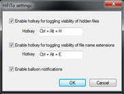 The HiFiTo settings dialog winow.