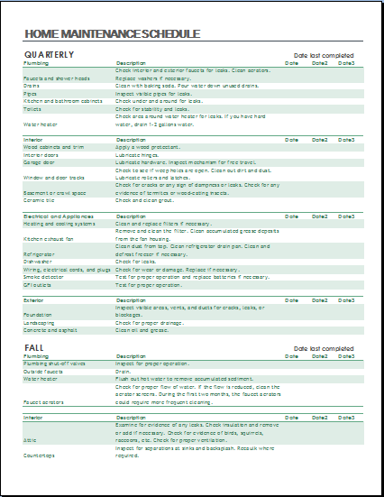 Home Maintenance List Download