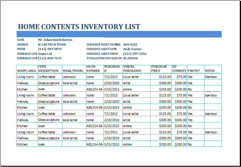 Household Inventory Sheet Download