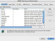 MacOS X Administrator showing list of User DSNs