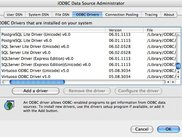 MacOS X Administrator showing installed ODBC Drivers