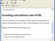 Viewing HTML output with embedded calculations