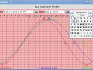 Sample calendar popup in biorhythm application