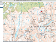 Ordnance Survey Landranger map displaying a route (.gpx file).