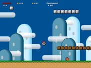 Mario jumping at the first level of the game.