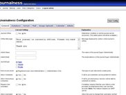 The journalness configuration section of the admin panel