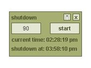 Shows JShutdownTimer's simple UI with the clock running.